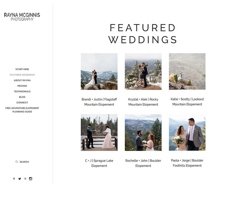 Rayna McGinnis Photography | Custom Photographer Website